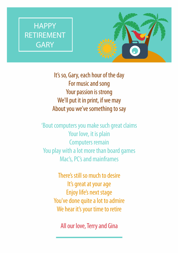 Fun and Amusing Retirement Poetry Card 5