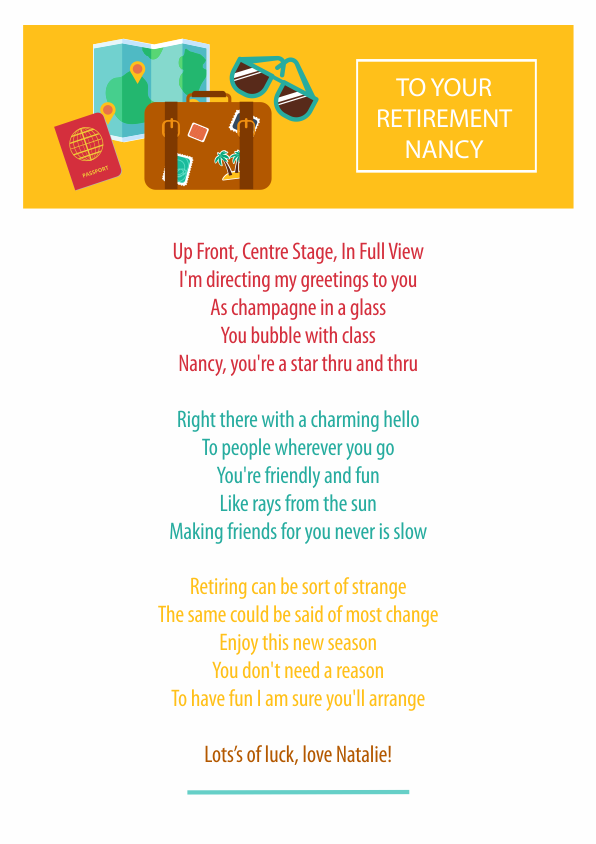 Fun and Amusing Retirement Poetry Card 6