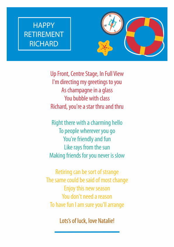Fun and Amusing Retirement Poetry Card 7