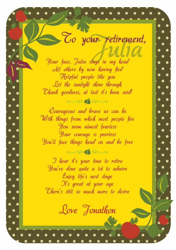 Fun and Amusing Retirement Poetry Card 8