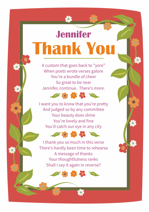 Fun and Amusing Thank You Poetry Card 3