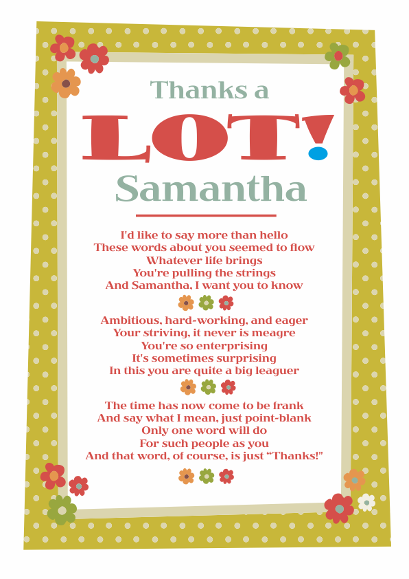 Fun and Amusing Thank You Poetry Card 4