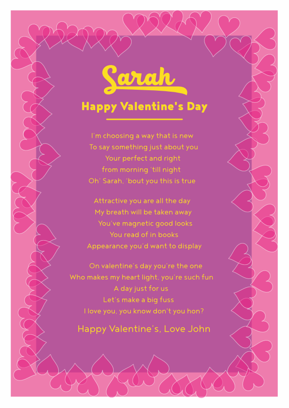 Fun and Amusing Valentine's Day Poetry Card 1