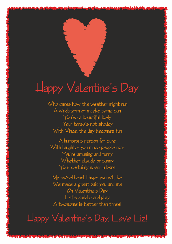 Fun and Amusing Valentines Day Poetry Card 7