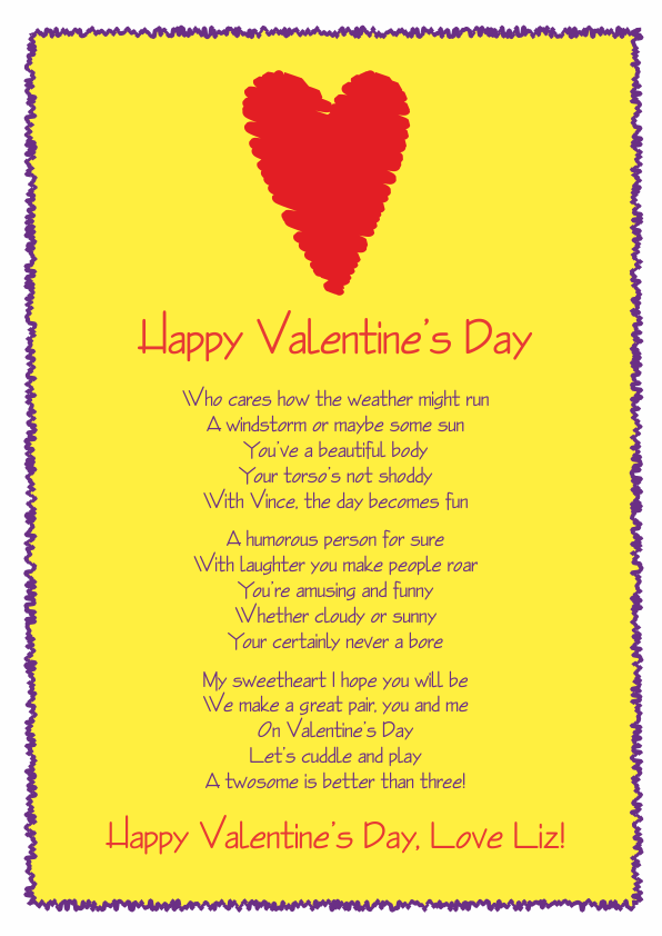 Fun and Amusing Valentines Day Poetry Card 8