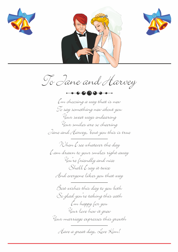 Fun and Amusing Wedding Poetry Card 1