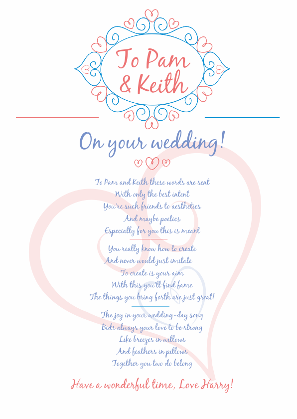 Fun and Amusing Wedding Poetry Card 2