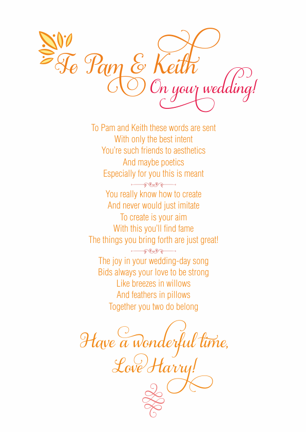 Fun and Amusing Wedding Poetry Card 3