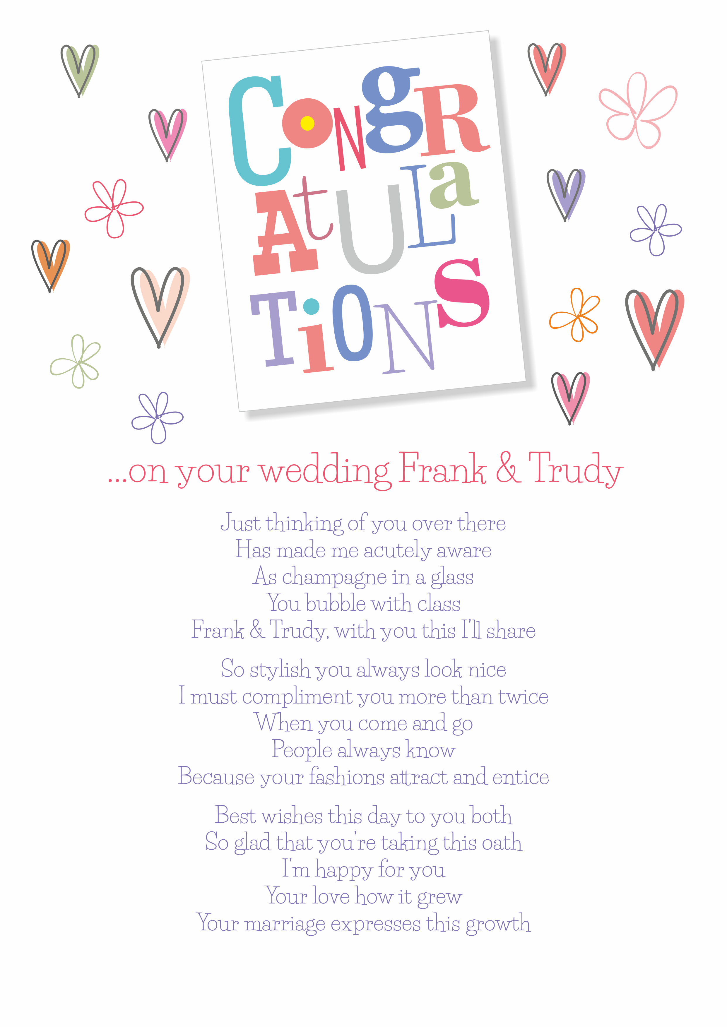 Fun and Amusing Wedding Poetry Card 4