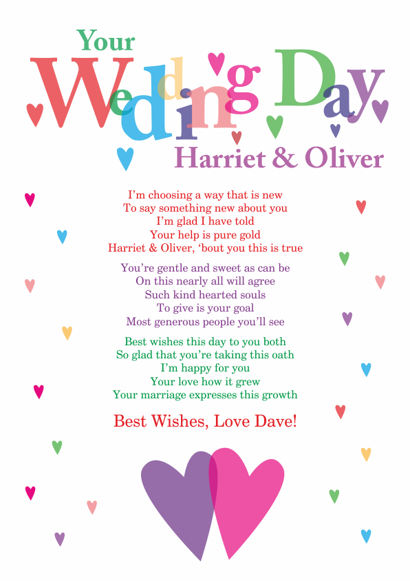 Fun and Amusing Wedding Poetry Card 6