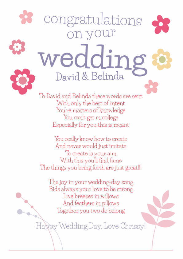 Fun and Amusing Wedding Poetry Card 7