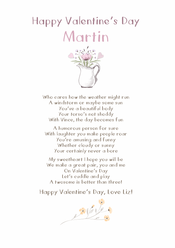 Fun and AmusingValentines Day Poetry Card 10