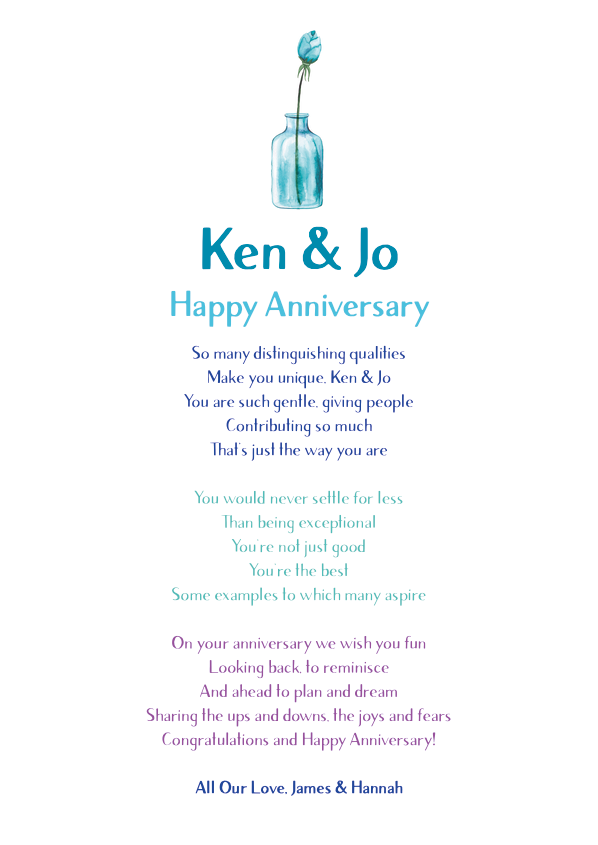 Serious and Sentimental Anniversary Poetry Card 2