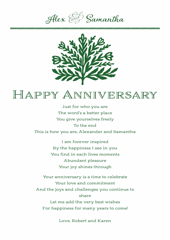 Serious and Sentimental Anniversary Poetry Card 8