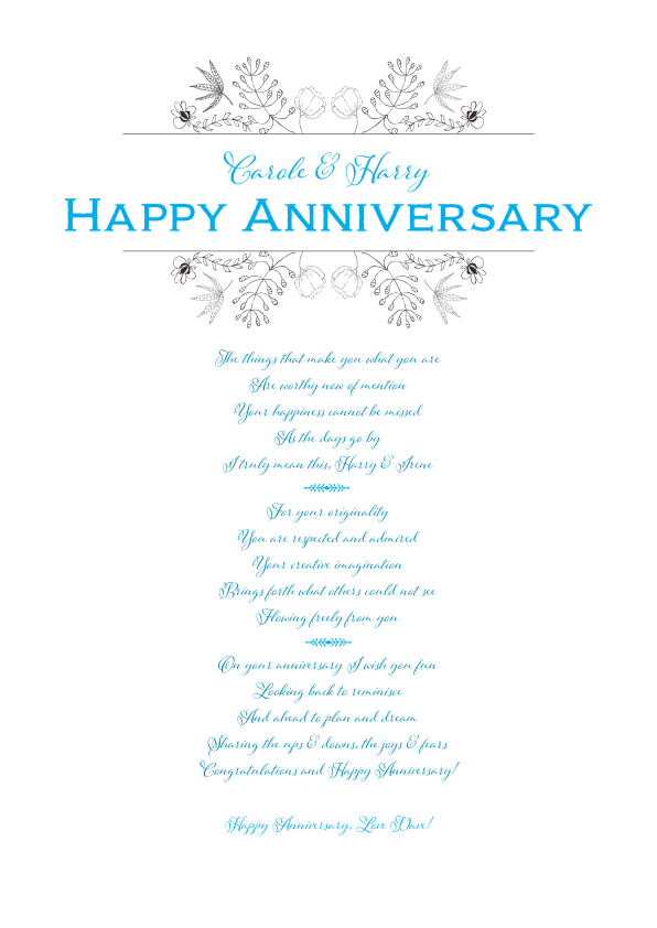 Serious and Sentimental Anniversary Poetry Card 9