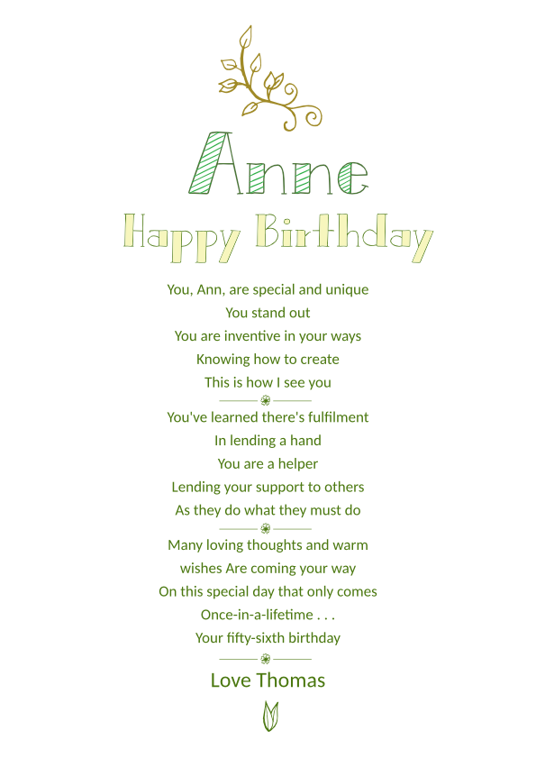 Serious and Sentimental Birthday Poetry Card 1