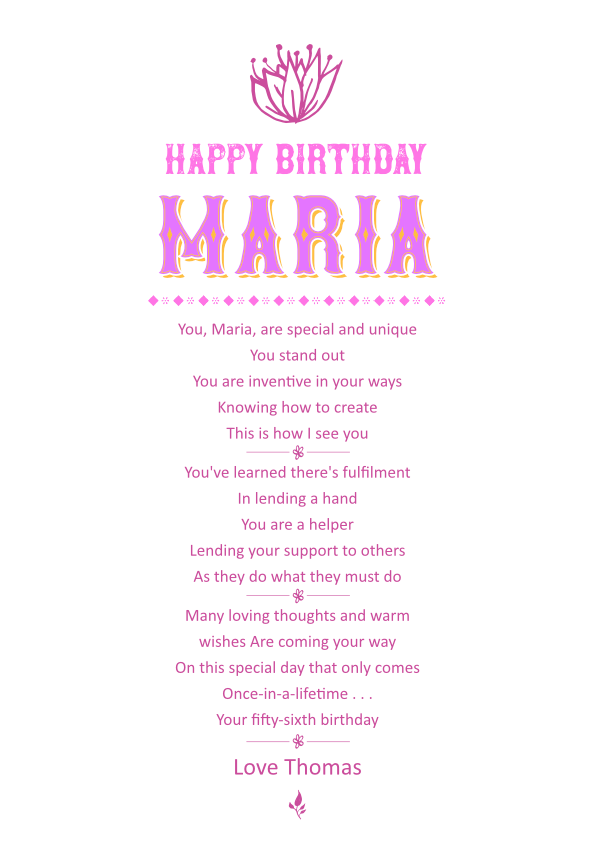 Serious and Sentimental Birthday Poetry Card 2