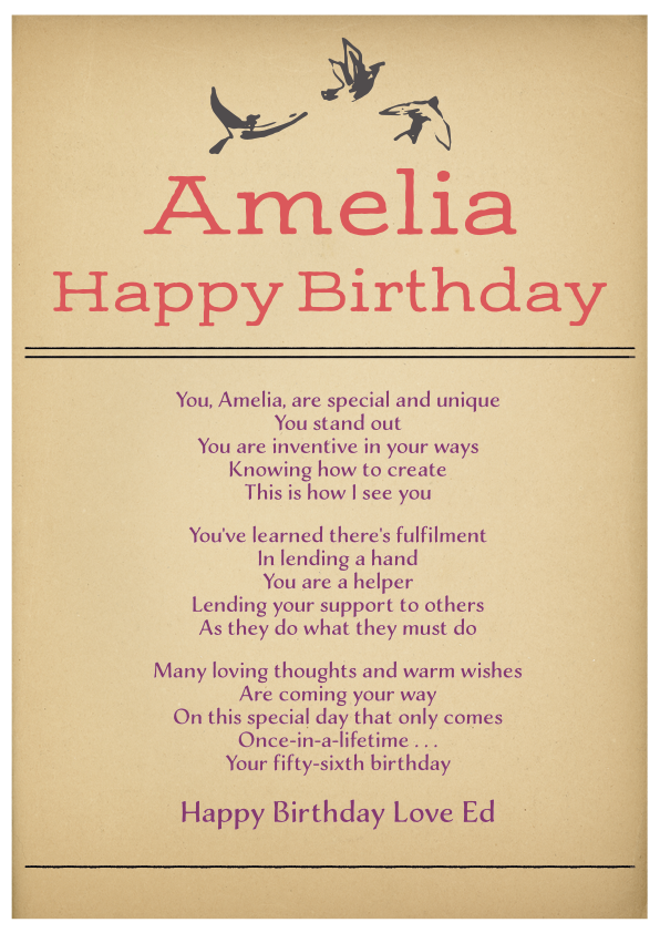 Serious and Sentimental Birthday Poetry Card 4