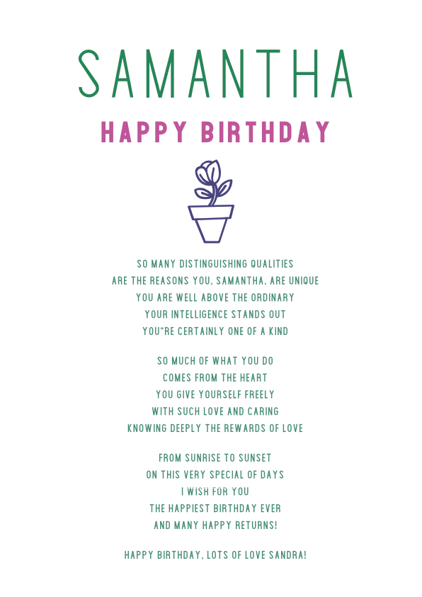 Serious and Sentimental Birthday Poetry Card 7
