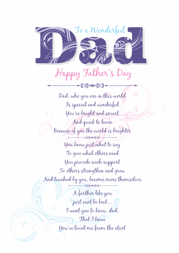 Serious and Sentimental Fathers Day Poetry Card 1