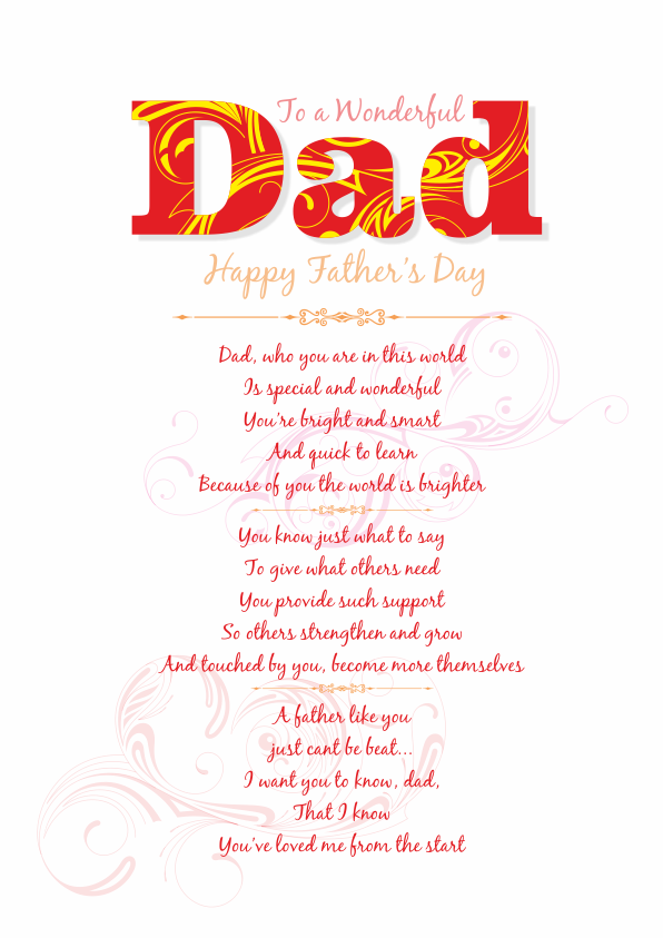 Serious and Sentimental Fathers Day Poetry Card 2