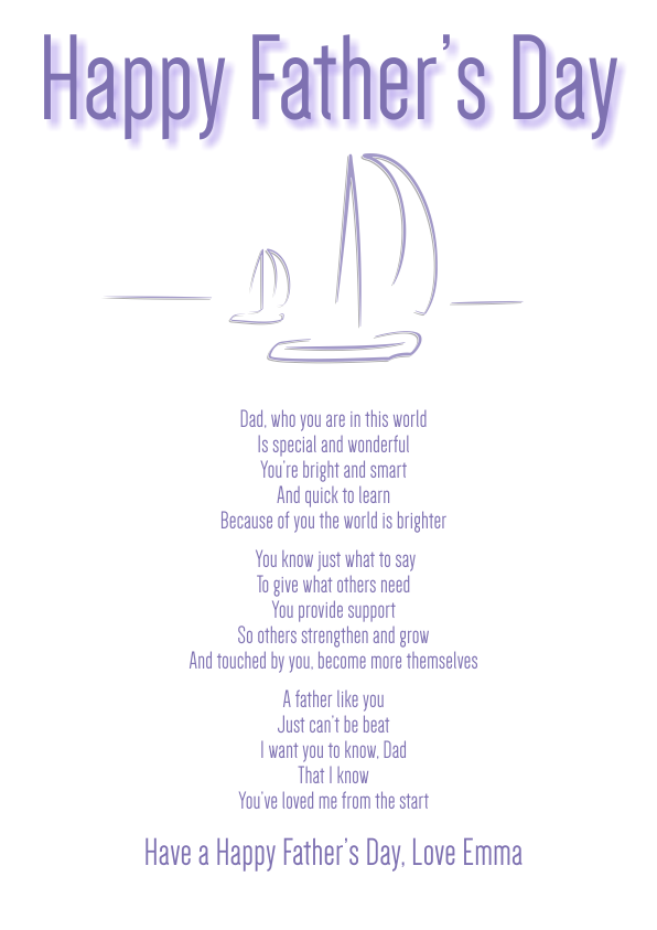 Serious and Sentimental Fathers Day Poetry Card 3
