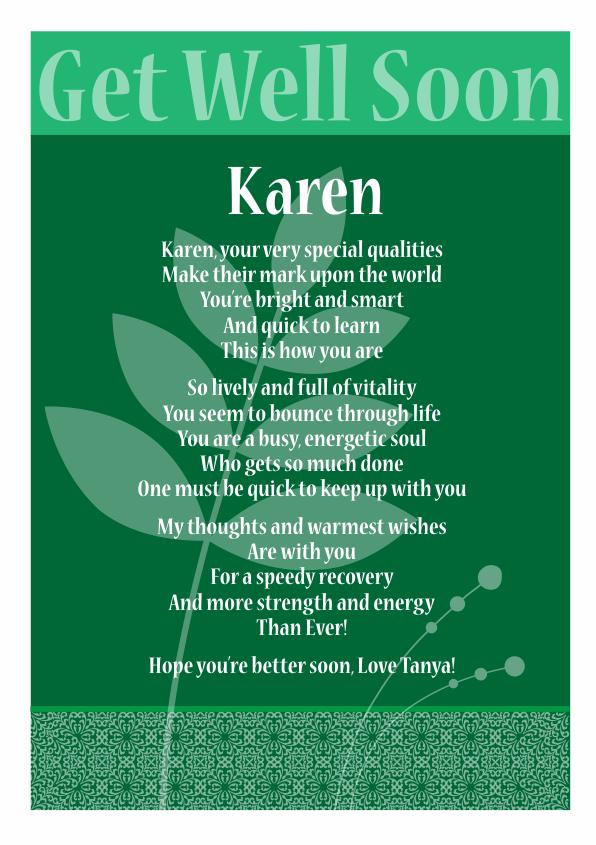 Serious and Sentimental Get Well poetry Card 4
