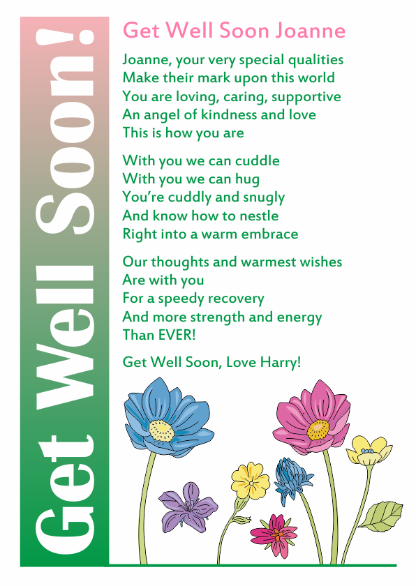 Serious and Sentimental Get Well poetry Card 5