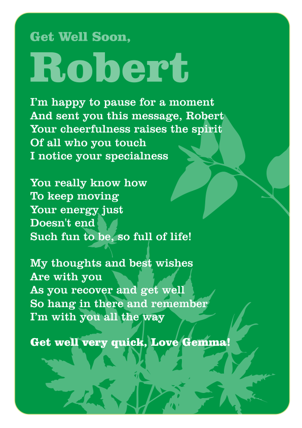 Serious and Sentimental Get Well poetry Card 6