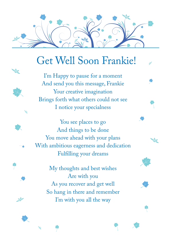 Serious and Sentimental Get Well poetry Card 7