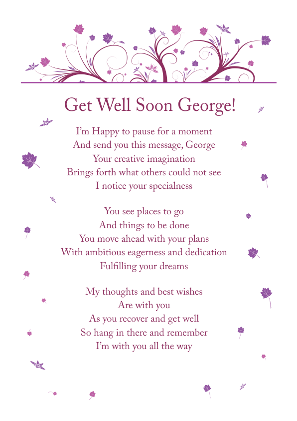 Serious and Sentimental Get Well poetry Card 8