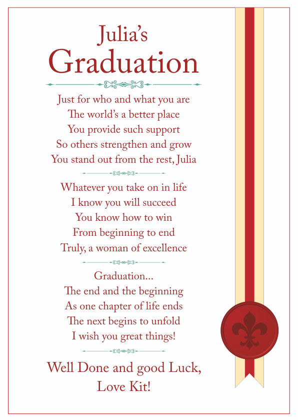 Serious and Sentimental Graduation Poetry Card 1