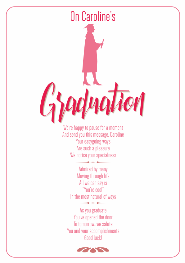 Serious and Sentimental Graduation Poetry Card 2