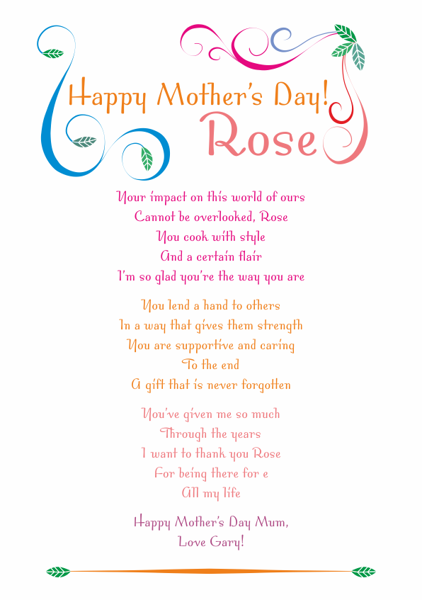 Serious and Sentimental Mothers Day Poetry Card 1