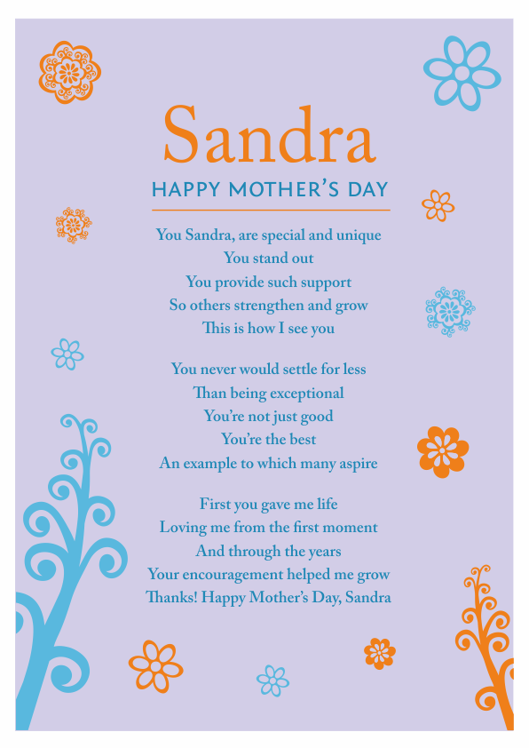 Serious and Sentimental Mothers Day Poetry Card 2