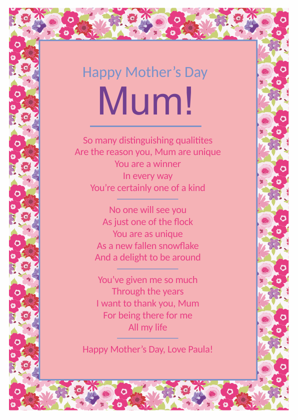 Serious and Sentimental Mothers Day Poetry Card 3