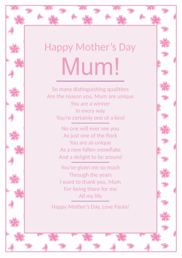 Serious and Sentimental Mothers Day Poetry Card 4