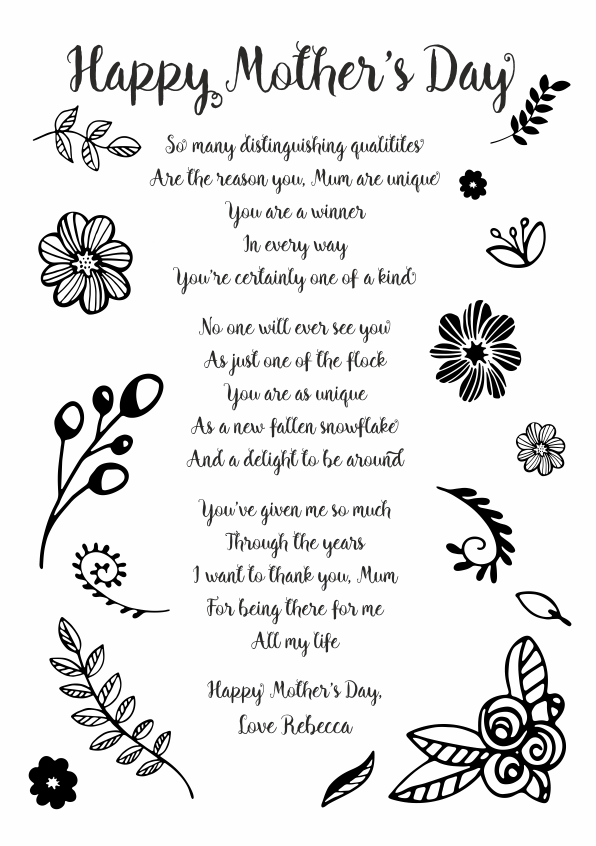 Serious and Sentimental Mothers Day Poetry Card 6