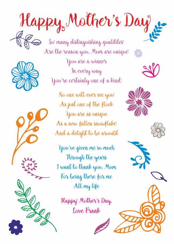 Serious and Sentimental Mothers Day Poetry Card 7