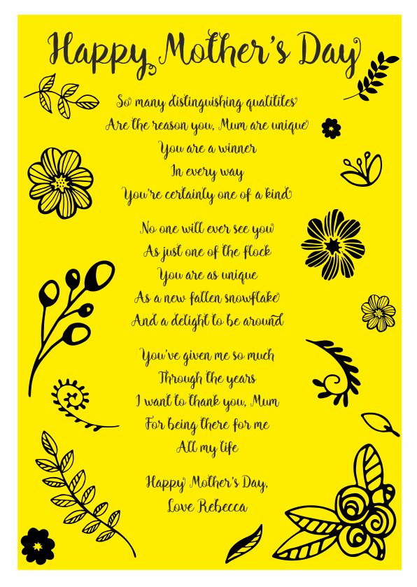 Serious and Sentimental Mothers Day Poetry Card 8