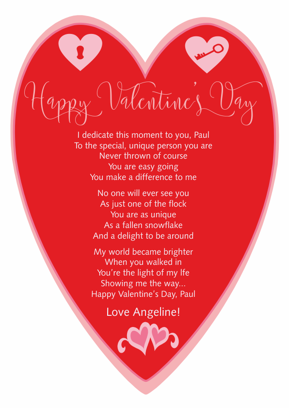Serious and Sentimental Valentines Day Poetry Card 2