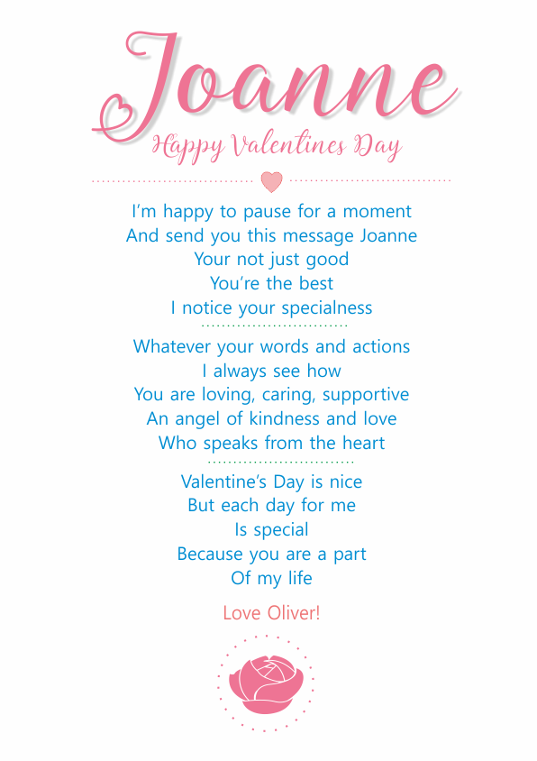 Serious and Sentimental Valentines Day Poetry Card 4
