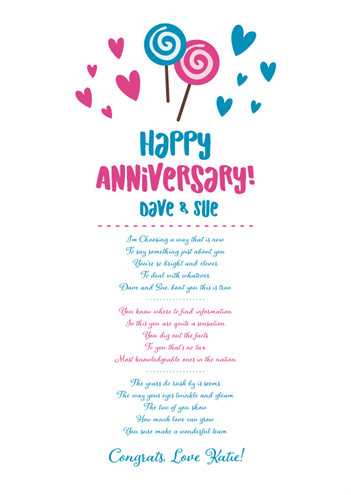 Fun and Amusing Anniversary Poetry Card 12