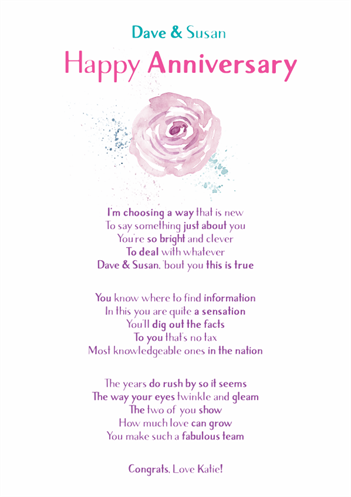 Fun and Amusing Anniversary Poetry Card 13