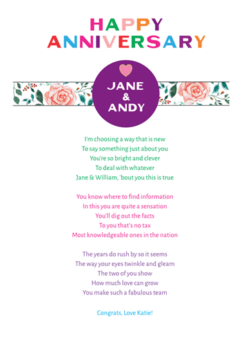 Fun and Amusing Anniversary Poetry Card 15