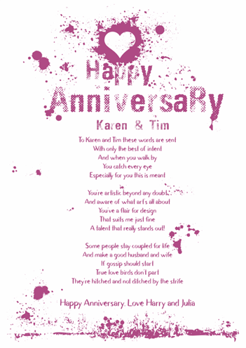 Fun and Amusing Anniversary Poetry Card 16