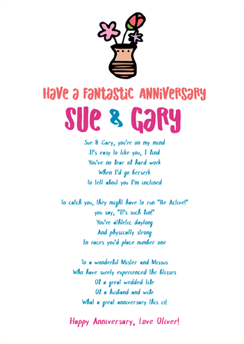 Fun and Amusing Anniversary Poetry Card 9